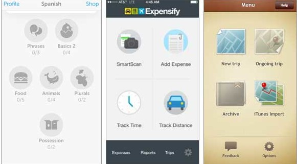 The launchpad user interface used in Duo Lingo, Expensify and Trip Journal