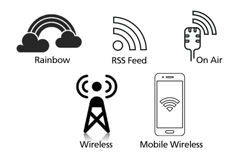 Rainbow-rss feed-on air symbol-wireless symbol-mobile wireless