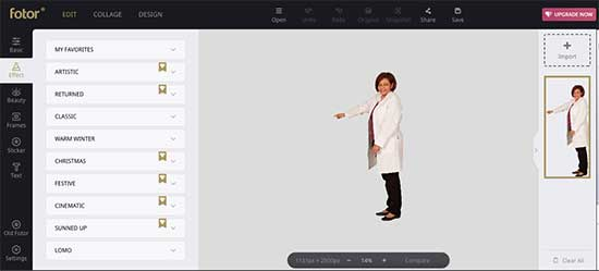 User interface of Fotor graphic editor