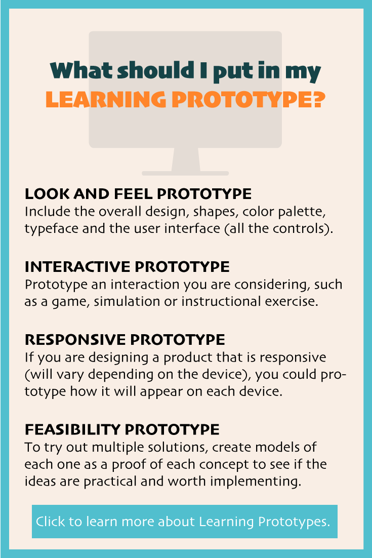 What should I put in my learning prototype?