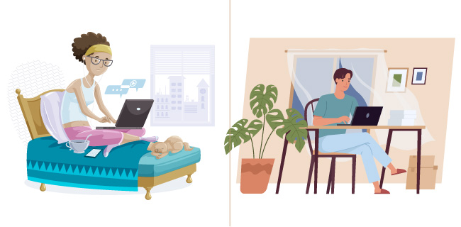 Illustrations of people working from home